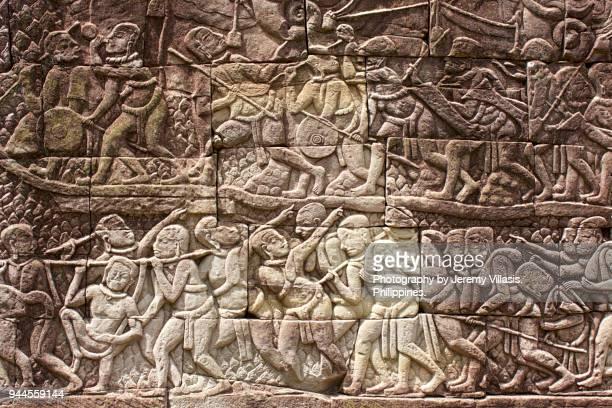 outer gallery bas-relief, bayon, angkor - reliefskulptur stock-fotos und bilder