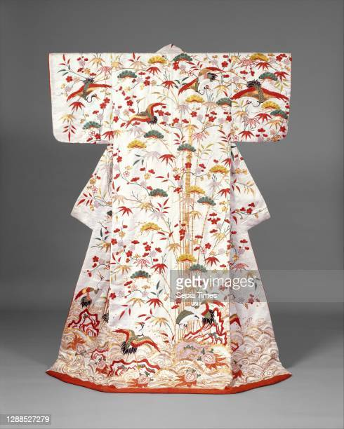 Outer Robe with Mount Horai, Edo period , second half of the 18th century–first half of the 19th century, Japan, Silk and metallic thread embroidery...