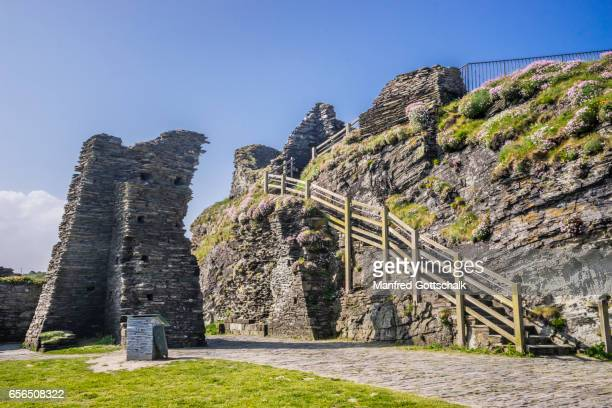 outer wards of medieval Tintagel Castle Cornwall