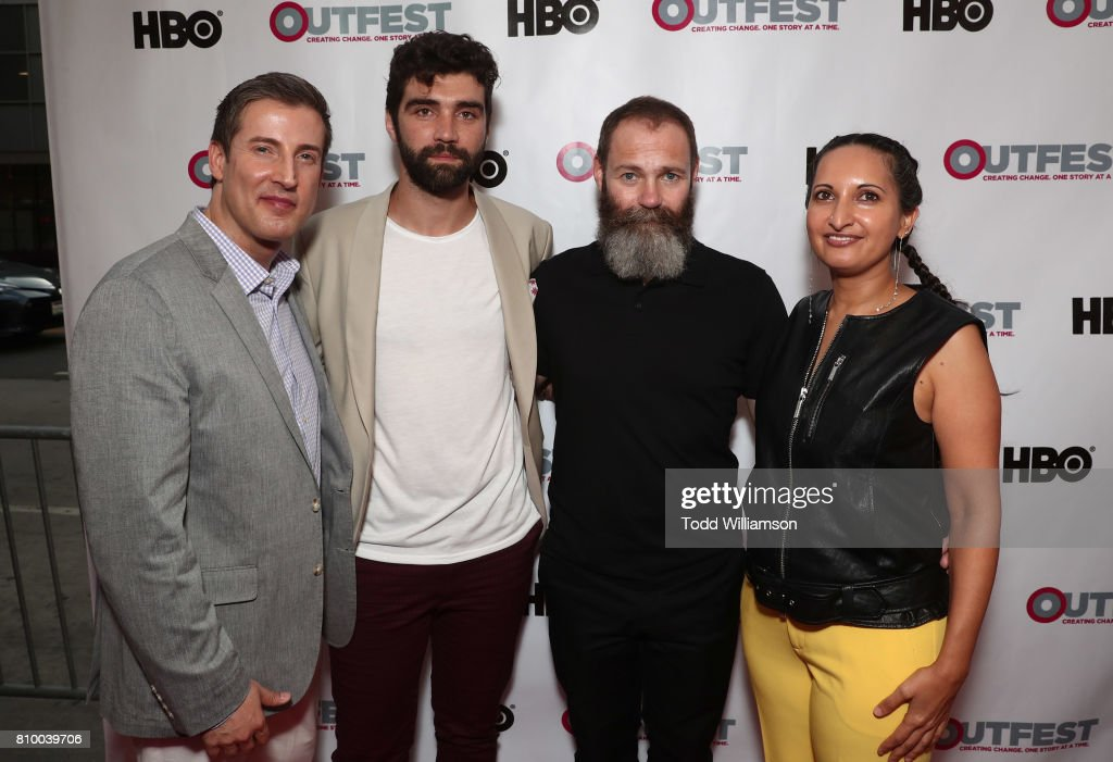 Outfest Executive Director Christopher Racster, Alec Secareanu, Francis Lee and Outfest Programmer Lucy Mukerjee-Brown attend the 2017 Outfest Los Angeles LGBT Film Festival Opening Night Gala at Orpheum Theatre on July 6, 2017 in Los Angeles, California.