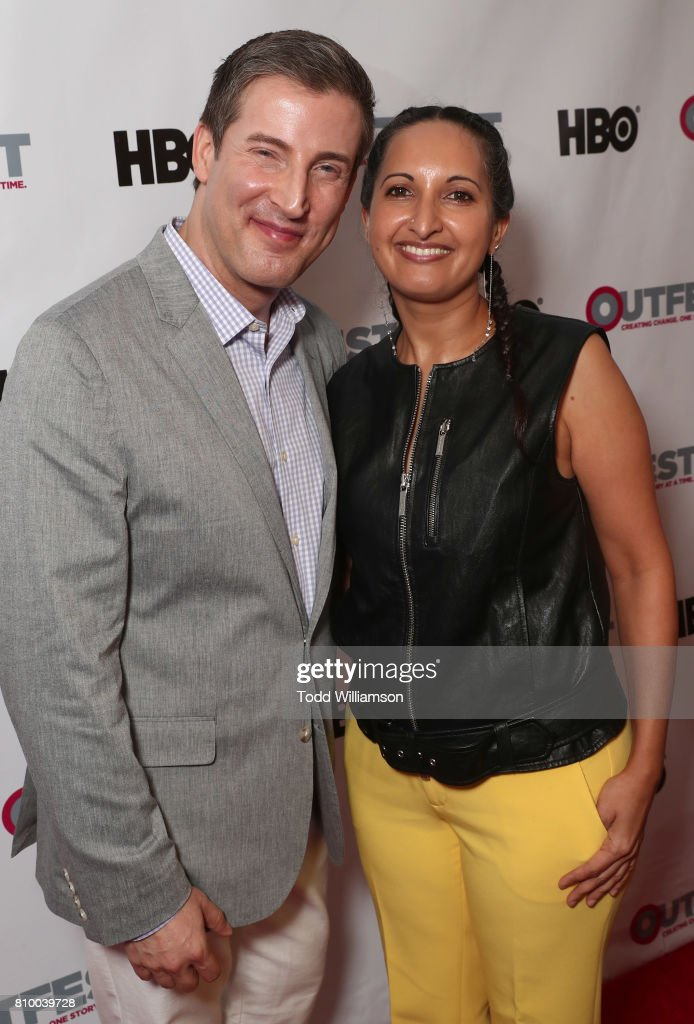 Outfest Executive Director Christopher Racster and Outfest Programmer Lucy Mukerjee-Brown attend the 2017 Outfest Los Angeles LGBT Film Festival Opening Night Gala at Orpheum Theatre on July 6, 2017 in Los Angeles, California.