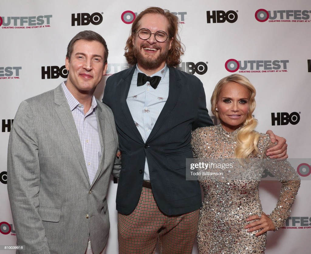 Outfest Executive Director Christopher Racster, Bryan Fuller and Kristin Chenoweth attend the 2017 Outfest Los Angeles LGBT Film Festival Opening Night Gala at Orpheum Theatre on July 6, 2017 in Los Angeles, California.