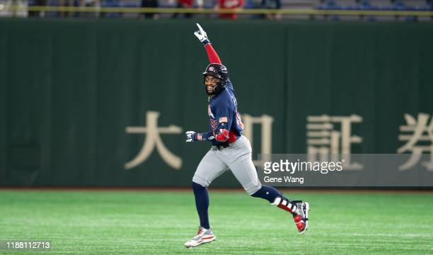 Outfiekder Jordon Adell of team USA hit a single homerun during the WBSC Premier 12 Bronze Medal final game between Mexico and USA at the Tokyo Dome...