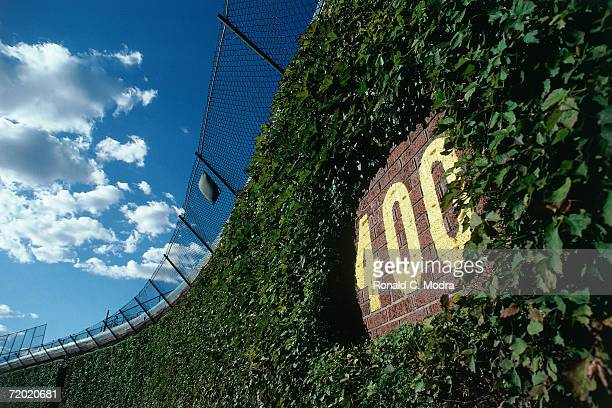 Outfield wall of Wrigley Field on September 26, 1990 in Chicago, Illinois.