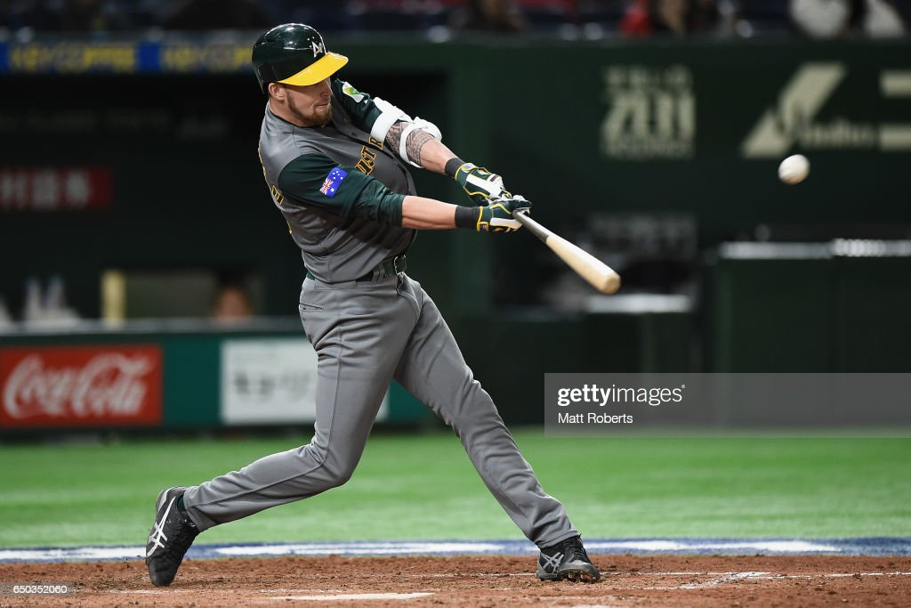 Outfielder Aaron Whitefield #48 of Australia at bat in the top of the eighth inning during the World Baseball Classic Pool B Game Four between Australia and China at the Tokyo Dome on March 9, 2017 in Tokyo, Japan.