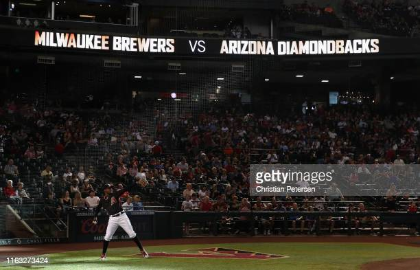 Outfielder Adam Jones of the Arizona Diamondbacks warms up before the start of the MLB game against the Milwaukee Brewers at Chase Field on July 20,...