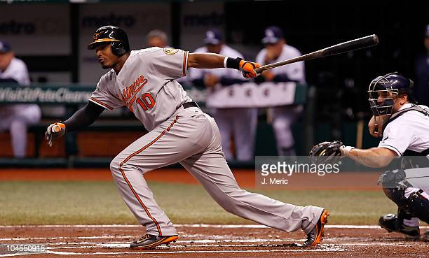 Outfielder Adam Jones of the Baltimore Orioles flies out against the Tampa Bay Rays during the game at Tropicana Field on September 29, 2010 in St....