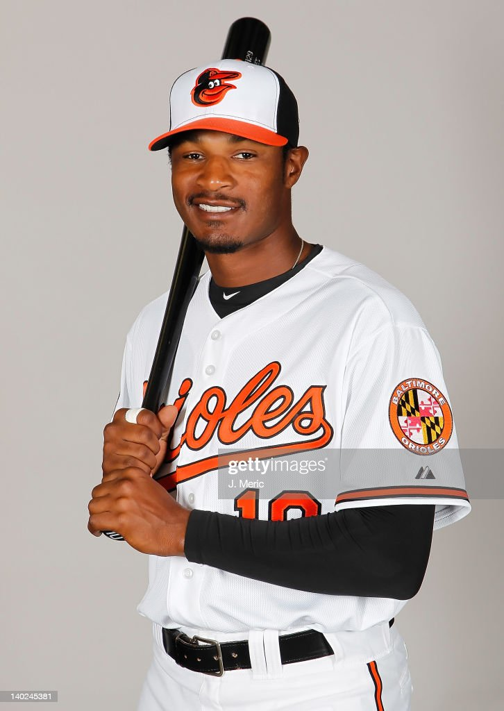 Outfielder Adam Jones #10 of the Baltimore Orioles poses for a photo during photo day at Ed Smith Stadium on March 1, 2011 in Sarasota, Florida.