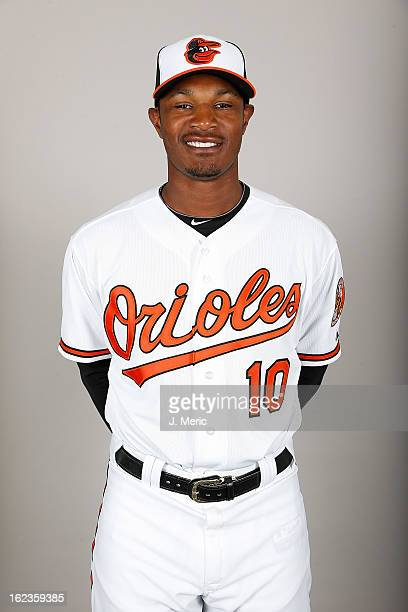 Outfielder Adam Jones of the Baltimore Orioles poses for a photo during photo day at Ed Smith Stadium on February 22, 2013 in Sarasota, Florida.