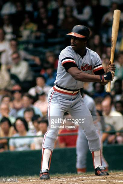 Outfielder Al Bumbry of the Baltimore Orioles stands ready at bat during a July 1973 season game against the Detroit Tigers at Tiger Stadium in...