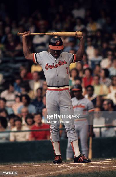 Outfielder Al Bumbry of the Baltimore Orioles stretches with his bat at the plate during a July 1973 season game against the Detroit Tigers at Tiger...