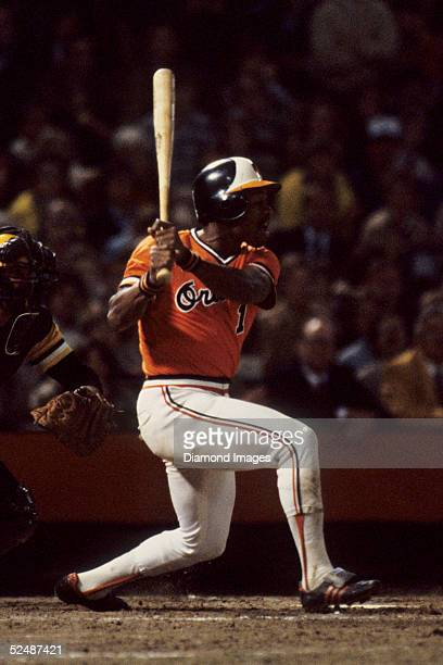 Outfielder Al Bumbry of the Baltimore Orioles swings at the pitch during the World Series game in October 1979 against the Pittsburgh Pirates at...