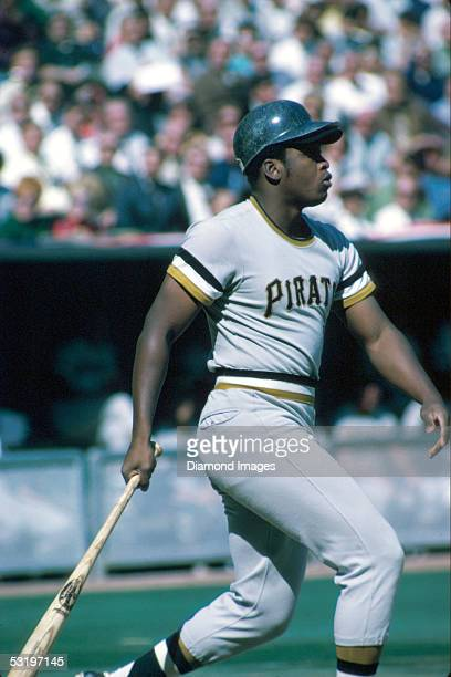 Outfielder Al Oliver of the Pittsburgh Pirates at bat during a game in 1970 against the Cincinnati Reds at Riverfront Stadium in Cincinnati Ohio