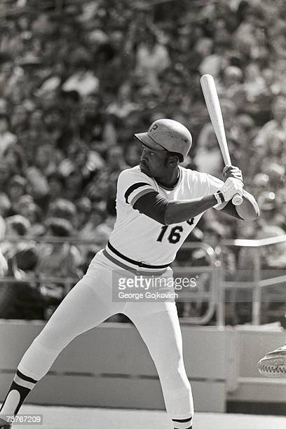 Outfielder Al Oliver of the Pittsburgh Pirates bats during a game at Three Rivers Stadium circa 1975 in Pittsburgh Pennsylvania