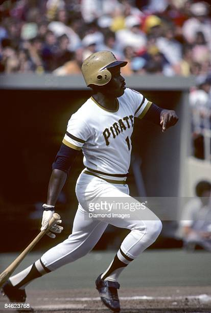 Outfielder Al Oliver of the Pittsburgh Pirates watches a ball he's just hit during a game in July 1976 at Three Rivers Stadium in Pittsburgh...