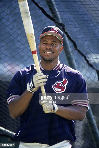 Outfielder Albert Belle of the Cleveland Indians awaits his next turn in the batting cage prior to a game in the early1990s at Municipal Stadium in...