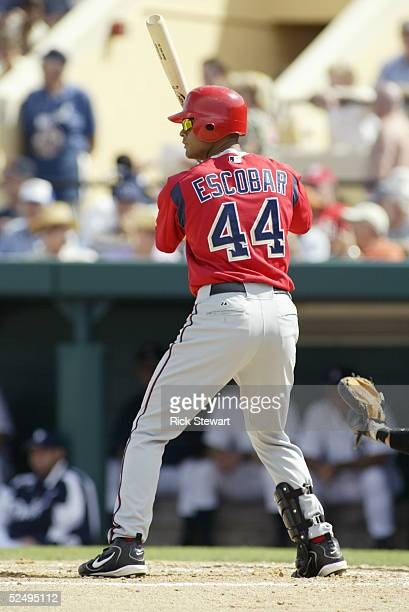 Outfielder Alex Escobar of the Washington Nationals bats against the Detroit Tigers during a Spring Training game on March 7 2005 at Marchant Stadium...