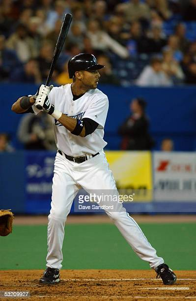Outfielder Alex Rios of the Toronto Blue Jays waits for a New York Yankees pitch during the game at Skydome on October 1 2004 in Toronto Ontario The...