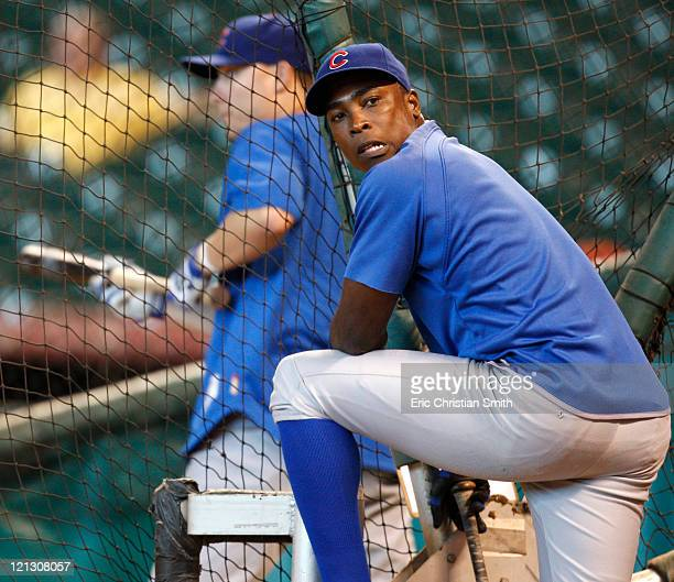 Outfielder Alfonso Soriano of the Chicago Cubs waits to enter the batting cage before their game against the Houston Astros at Minute Maid Park on...