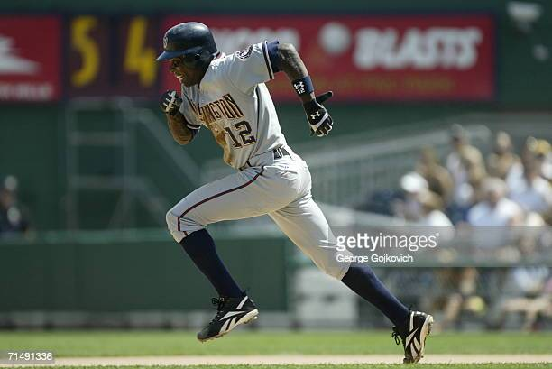 Outfielder Alfonso Soriano of the Washington Nationals steals second base during a game against the Pittsburgh Pirates at PNC Park on July 16, 2006...