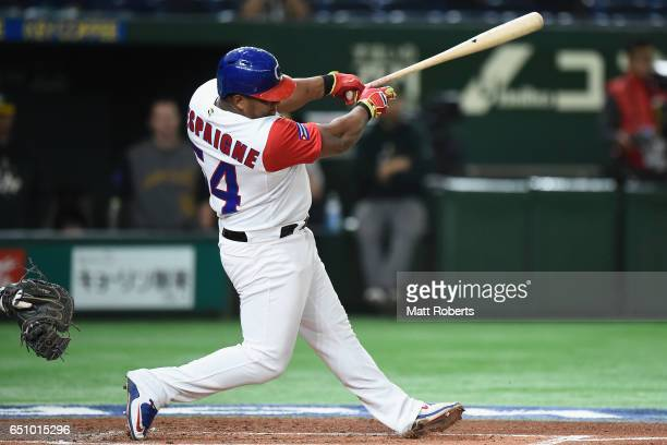 Outfielder Alfredo Despaigne of Cuba grounds out in the bottom of the first inning during the World Baseball Classic Pool B Game Five between...