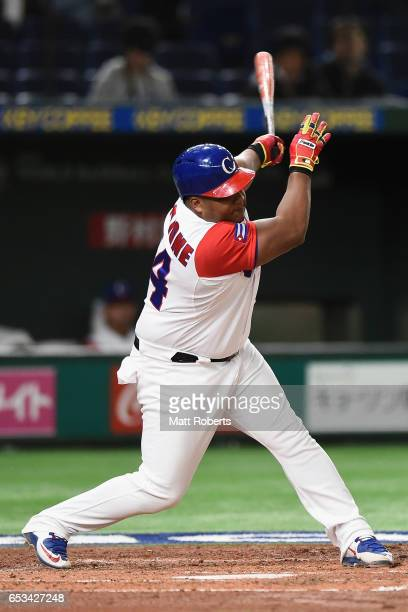 Outfielder Alfredo Despaigne of Cuba grounds out in the bottom of the second inning during the World Baseball Classic Pool E Game Five between...