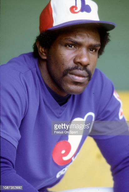 Outfielder Andre Dawson of the Montreal Expos looks on from the dugout during an Major League Baseball game circa 1982 Dawson played for the Expos...