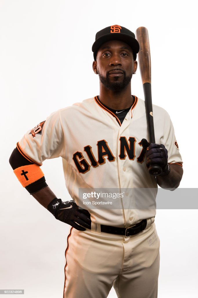 Outfielder Andrew McCutchen (22) poses for a photo during the San Francisco Giants photo day on Tuesday, Feb. 20, 2018 at Scottsdale Stadium in Scottsdale, Ariz.