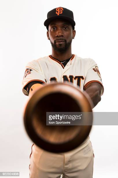 Outfielder Andrew McCutchen poses for a photo during the San Francisco Giants photo day on Tuesday Feb 20 2018 at Scottsdale Stadium in Scottsdale...