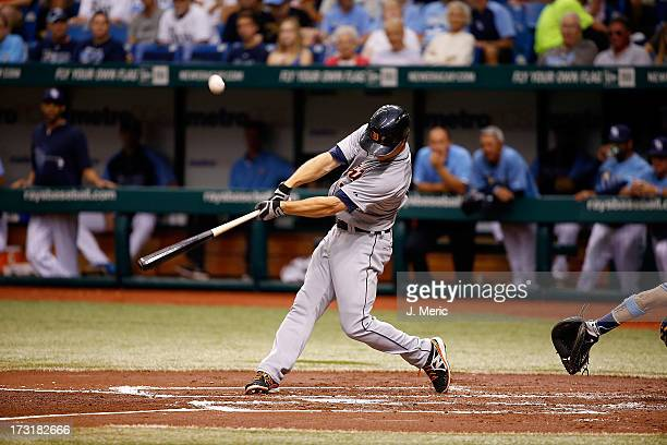 Outfielder Andy Dirks of the Detroit Tigers bats against the Tampa Bay Rays during the game at Tropicana Field on June 30 2013 in St Petersburg...