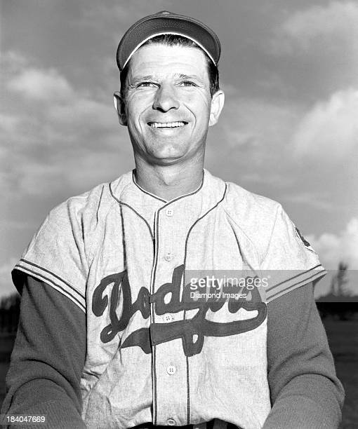 Outfielder Andy Pafko of the Brooklyn Dodgers poses for a portrait during Spring Training in March 1952 at Al Lang Field in St Petersburg Florida...