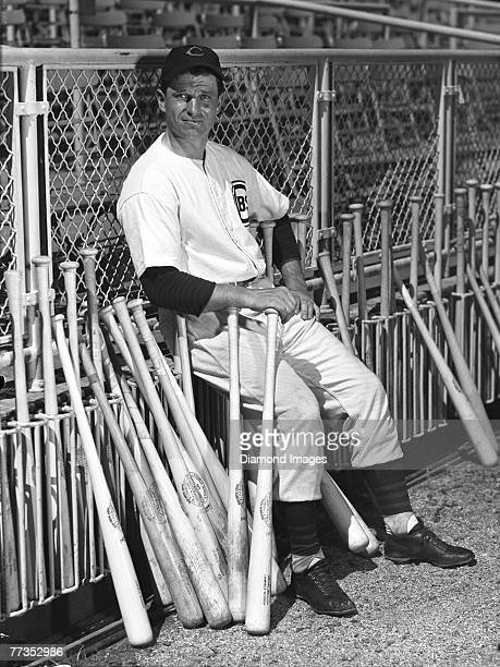 Outfielder Andy Pafko of the Chicago Cubs poses for a portrait during Spring Training in March 1948 at Wrigley Feld in Los Angeles California