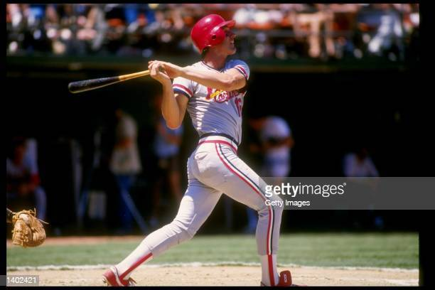 Outfielder Andy Van Slyke of the St Louis Cardinals swings at the ball during a game against the San Diego Padres at Jack Murphy Stadium in San Diego...