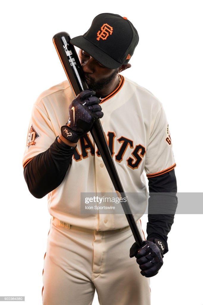 Outfielder Austin Jackson (16) poses for a photo during the San Francisco Giants photo day on Tuesday, Feb. 20, 2018 at Scottsdale Stadium in Scottsdale, Ariz.