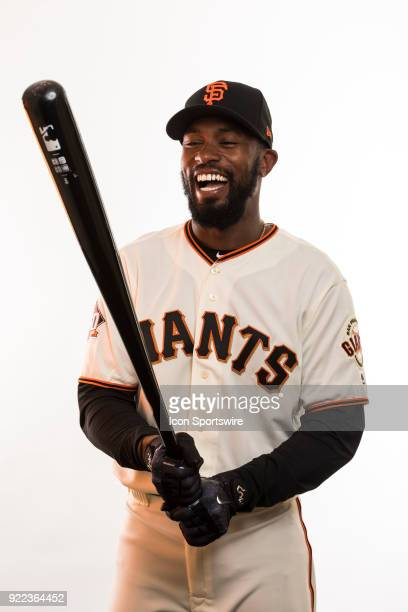 Outfielder Austin Jackson poses for a photo during the San Francisco Giants photo day on Tuesday Feb 20 2018 at Scottsdale Stadium in Scottsdale Ariz