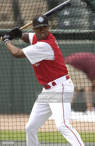 Outfielder Austin Jackson takes batting practice prior to the AFLAC High School AllAmerican Game on August 6 2004 at Ripken Stadium in Aberdeen...