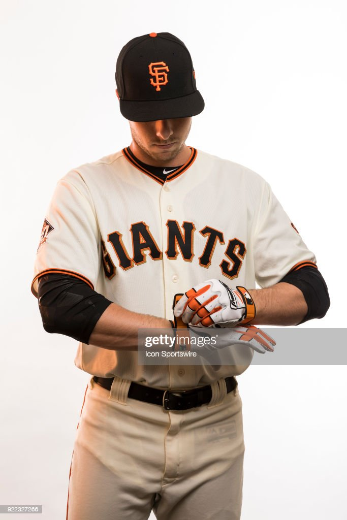 Outfielder Austin Slater (53) poses for a photo during the San Francisco Giants photo day on Tuesday, Feb. 20, 2018 at Scottsdale Stadium in Scottsdale, Ariz.