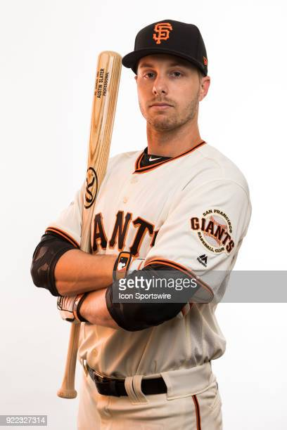 Outfielder Austin Slater poses for a photo during the San Francisco Giants photo day on Tuesday Feb 20 2018 at Scottsdale Stadium in Scottsdale Ariz