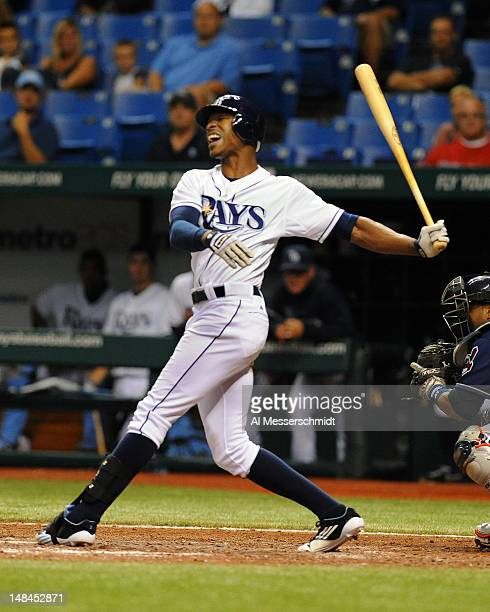 Outfielder B J Upton of the Tampa Bay Rays strikes out against the Cleveland Indians July 16 2012 at Tropicana Field in St Petersburg Florida