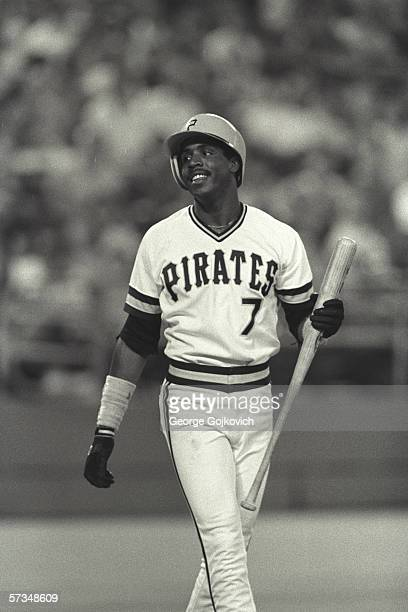 Outfielder Barry Bonds of the Pittsburgh Pirates smiles while batting during a game at Three Rivers Stadium in June of 1986 in Pittsburgh Pennsylvania