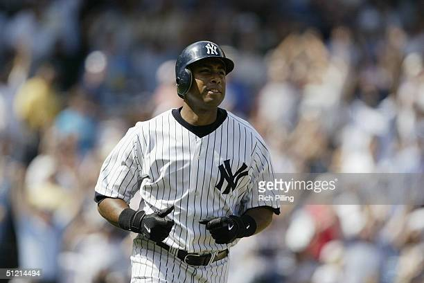 Outfielder Bernie Williams of the New York Yankees runs during the game against the Toronto Blue Jays at Yankee Stadium on August 9 2004 in the Bronx...