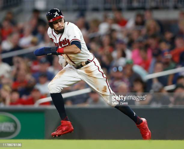 Outfielder Billy Hamilton of the Atlanta Braves runs during the game against the San Francisco Giants on September 21, 2019 in Atlanta, Georgia.