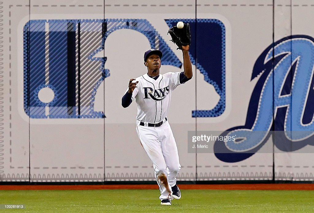 Outfielder B.J. Upton #2 of the Tampa Bay Rays catches a fly ball against the Toronto Blue Jays during the game at Tropicana Field on August 2, 2011 in St. Petersburg, Florida.