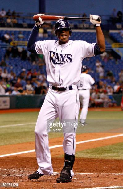 Outfielder BJ Upton of the Tampa Bay Rays reacts after he strikes out during the eighth inning against the Los Angeles Angels during the game on...