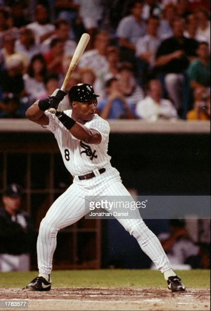 Outfielder Bo Jackson of the Chicago White Sox prepares to swing at the ball