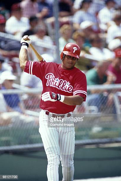 Outfielder Bobby Abreu of the Philadelphia Phillies warms up in the on deck circle during a Spring Training game in March 1998 at Jack Russell...