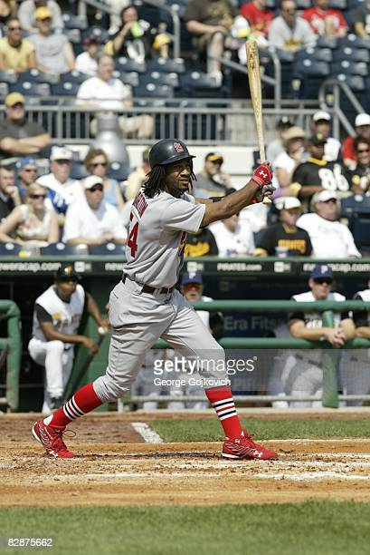 Outfielder Brian Barton of the St Louis Cardinals bats during a game against the Pittsburgh Pirates at PNC Park on September 14 2008 in Pittsburgh...