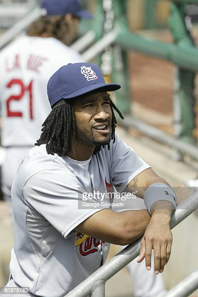 Outfielder Brian Barton of the St Louis Cardinals looks on from the dugout before a game against the Pittsburgh Pirates at PNC Park on September 14...