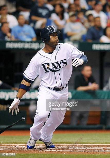 Outfielder Carl Crawford of the Tampa Bay Rays bats against the New York Yankees at Tropicana Field on April 15 2009 in St Petersburg Florida