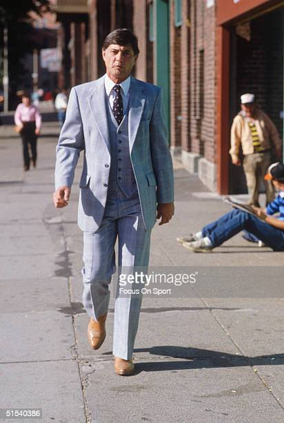 Outfielder Carl Yastrzemski of the Boston Red Sox walks to the 'office' at Fenway Park during the 1980s in Boston Massachusetts